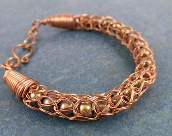 Nestled pearls 'knitted' wire bracelet, copper, woven