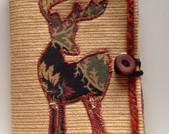 Quilted deer applique notebook holder with stamped tree notecards and notepad