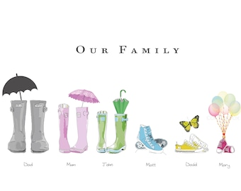 Personalised Family Print Wellies Boots Print for Family Personalised