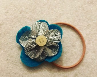 Blue and silver flower hair tie