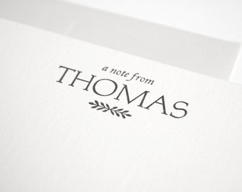 Custom Letterpress Stationery - Personalized Flat Note Card Set - Aldine