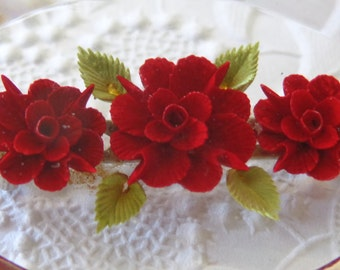 Vintage Lucite Brooch Pin Red Roses Lucite Reverse Carved