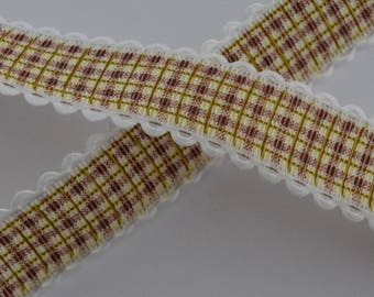 1 m 25mm wide Plaid Brown Ribbon lace