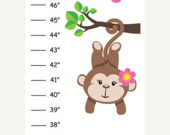 Personalized Pink Hanging Monkey Canvas Growth Chart