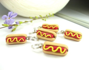 Hot Dog Sandwich Stitch Markers 5x miniature food charms, hotdog, funny, knitting accessories, knit food gift for knitters polymer clay cute