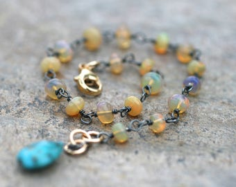 Ethiopian Opal, Mojave Turquoise Gemstone, Mixed Metal Bracelet, Oxidized Sterling Silver, 14KT Gold Filled Bracelet, Opal and Turquoise