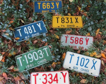 1 Vintage License Plate Ohio White and Blue 1969 Collectibles