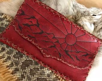 Desert sun burst large leather wallet/clutch