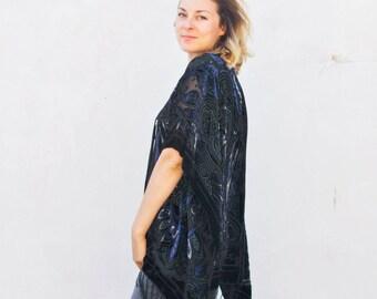 Velvet Kimono: Royal Blue and Silver Filigree Velvet Burnout Kimono Jacket Cover Up, Fringe, Poncho
