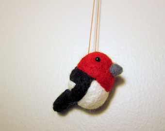 Woodpecker Ornament - Christmas Ornament - Needle Felted Red Headed Woodpecker