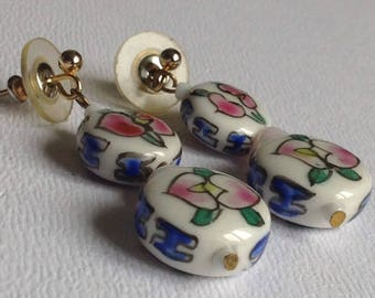 Vintage Baby Blue Ceramic Flower Dropper Earrings - Pierced Fitting - Gifts for Her