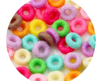Fruity ring cereal flatback miniature cabochons - 10 peice