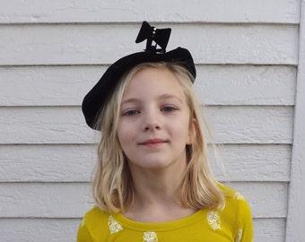 50s Black Hat Tilt Hat Vintage Cute Bow