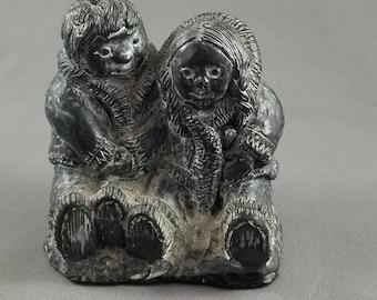 Vintage WOLF Sculptures of Two Inuit Children Eskimo Hand Carved Soapstone, Figurine Inuit Art, Native Indian Art, Canadian Aboriginal Art