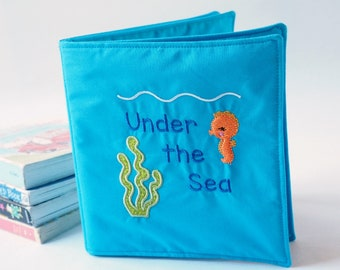 Children's Soft Book - New Baby Gift - Under the Sea Cloth Book - Sea Animal Gift Idea -  Gift for Toddler-  Educational Gift - Fabric Book