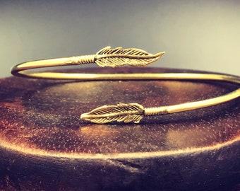 Feather bracelet, feather bangle