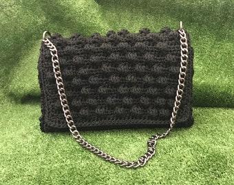 Crochet black bag in bobble stitch