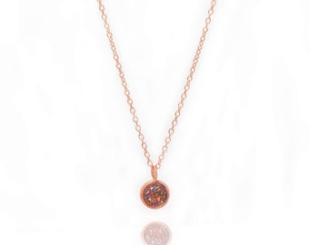 Druzy POP Necklace - Peacock Druzy in Rose Gold - Druzy / Drusy Necklace - 24k Rose Gold Vermeil - Small Round Druzy Drop Charm Pendant