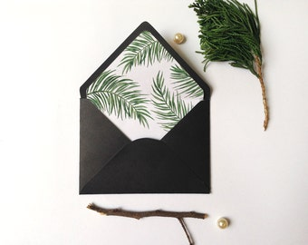 Envelope Liner Template, Watercolor Botanical palm, A6, A7 envelope Sizes, DIY envelope liner, Watercolor palm liner,Tropical envelope liner