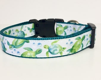 Dog Collar - Turtles - Watercolor - Summer - Spring - Handmade - Dog Gift- Pet - Dog Collar - Turtle