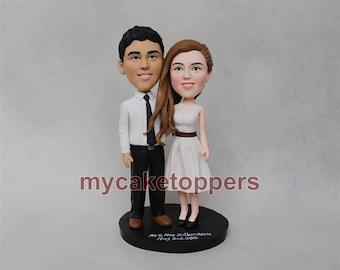 wedding cake topper, custom wedding cake topper, custom bobbleheads, bobbleheads cake toppers, personalized bobbleheads, Valentine gift