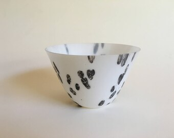White Fused Glass Drop Bowl
