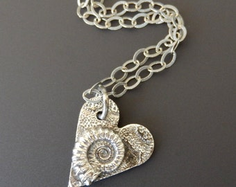 Sterling Silver Necklace Pendant Oxidized Heart with Sterling Ammonite Fossil on 18 inch Etched Sterling Link Chain with Lobster Claw Clasp