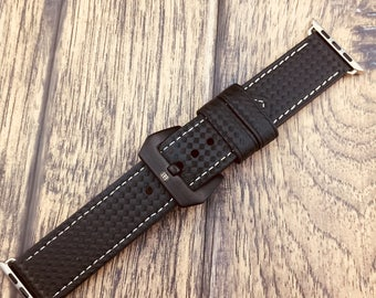 Buy 1 get 1 Free!!!!Carbon Fiber Apple Watch Band-Black With White Stitching