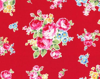 Flower Sugar Spring 2014 Roses on Red  Cotton Fabric  by Lecien 30968-30
