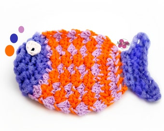 Crochet Fish Dishcloth, Facecloth, Washcloth, Fish, Kitchen Washcloth, Scrubbie, Orange, Pot Scrubby, Cleaning Cloth, Teachers, Housewarming