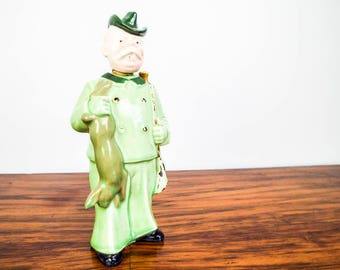 Vintage European Ceramic Porcelain Liquor Decanter Old Green Hunting Man Rabbit