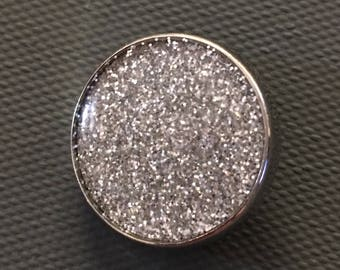 GingerSnap Charm - Silver Glitter Resin - 20 mm