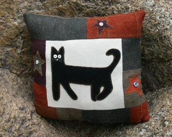 Wool Cat Pillow Eco Friendly Primitive Black Kitty Stars Upcycled Wool Accent Halloween Fall Decor by Northernlodge