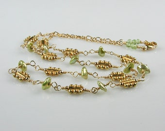 Lime Keshi Pearl and Gold Station Necklace
