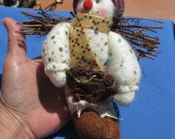 Rustic Snowman Stuffed Christmas Ornament Twigs On Back