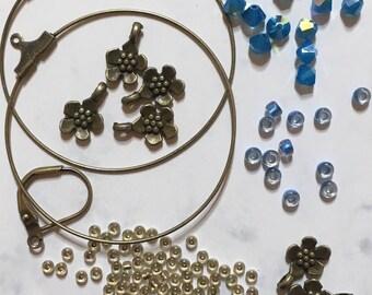 DIY Flower Hoop Earrings, with Caribbean Blue Opal AB Swarovski Crystals.