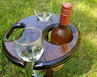 Outdoor Wine Table - Wine holder for Two glasses and a bottle - Wine Glass holder, Drink Holder, great for picnics. Outdoor Wine Stand