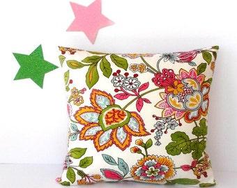 Green Floral Pillow Cover, Pink Gold Cream 18x18 Pillow, Jacobean Print Accent Pillow Sham, Sofa Cushion Cover, Flowers on Cream Toss Pillow