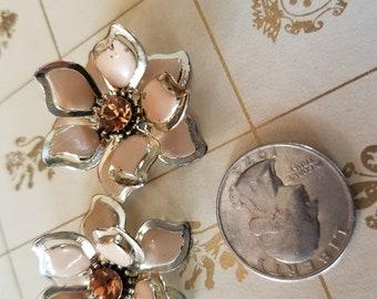 Vintage Flower Clip Earrings