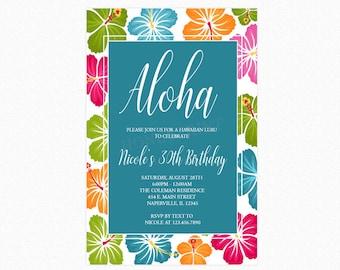 Luau Party Invitation, Luau Party, Hawaiian Luau, Hibiscus Flower Background, Personalized, Printable or Printed Invitations