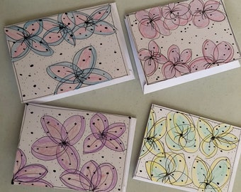 Hand drawn and colored blank note cards - abstract floral