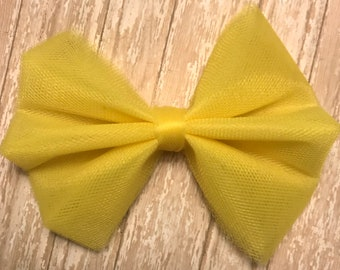 Yellow Tulle Hair Bow
