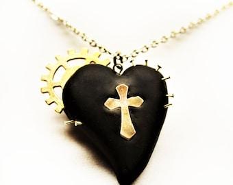 Black Gothic Cross Heart Pendant Necklace