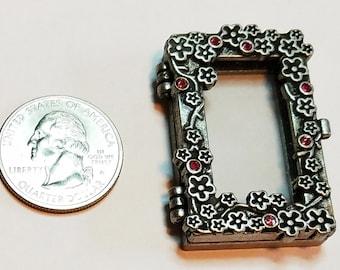 Beautiful Silver Rectangle Locket with Pink Rhinestone Pendant 46x28mm