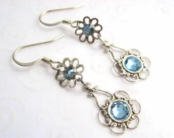 Dainty Flower Earrings, Sterling Silver Flower Earrings with Aqua Blue Rhinestones, Flower Jewelry, Blue Jewelry for Her