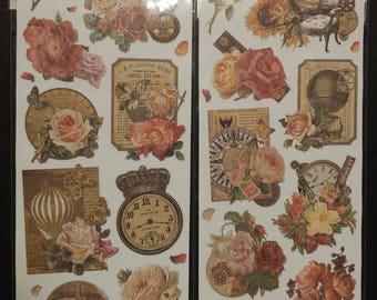 Vintage Steampunk Embossed Embellishments w/glitter