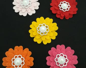Flowers-  flowers with Faux Pearl  asstd.  Pack of 5
