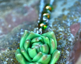 Green Succulent Necklace Succulent Jewelry Succulent Pendant jewelry Rustic necklace jewelry Planter necklace Cactus necklace Unique jewelry