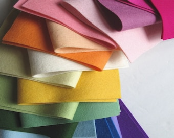 Wool Felt Assortment, 18 Sheet Set, Rainbow Colors, Pure Merino, 1mm Thick, Multi Color Felt Set, DIY Kit, Embroidery Floss