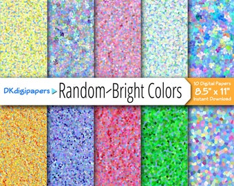 "Bright Colors in Random Shapes - Digital Paper Pack - Ten Digital Papers Ready to Download - 8.5"" x 11"""